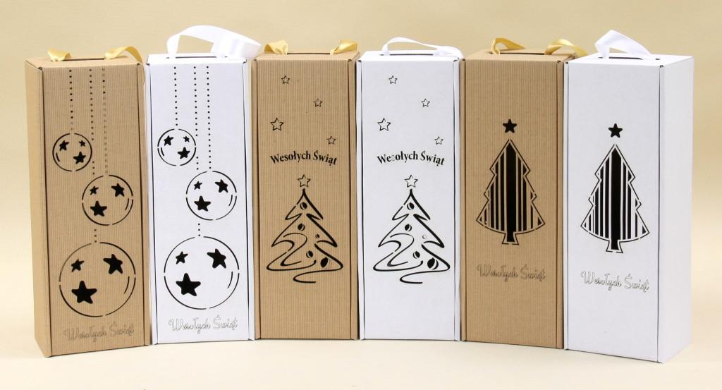 świąteczne pudełka do wina